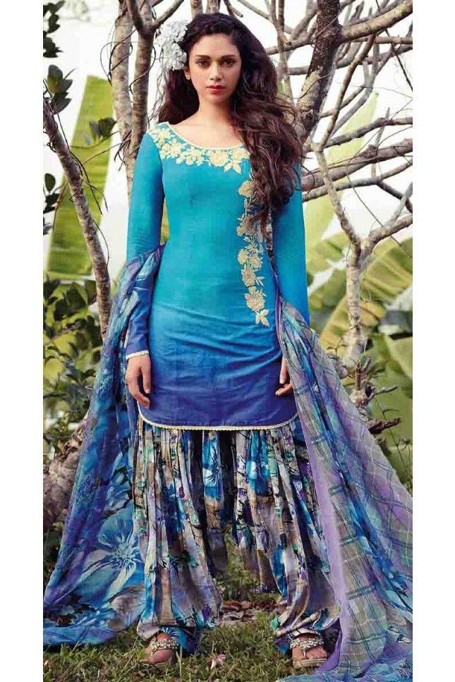 Blue Cotton Patiala Salwar Suit