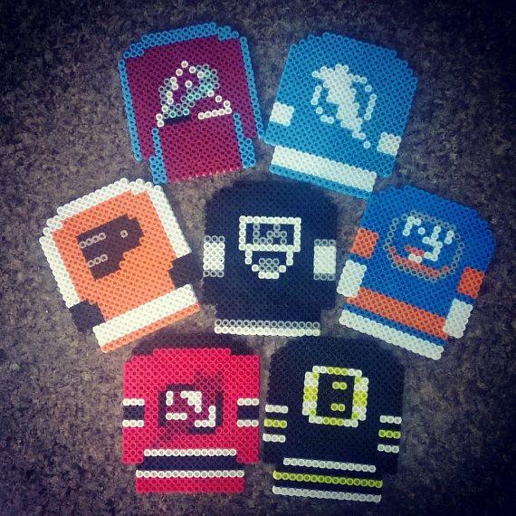 NHL Hockey Jersey Perler Bead Magnets by PrebreakofdawnCrafts, $6.60