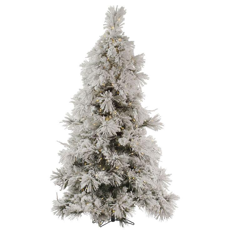 flocked pocono 65 white artificial christmas tree with 450 led white lights - White Christmas Tree Sale