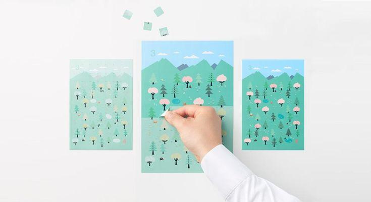 Sticker Calender è stato disegnato dallo studio giapponese Nendo per la linea by | n e si tratta di un calendario fatto di adesivi da staccare ogni giorno. Piccole tessere che formano illustrazioni a colori della natura che cambia con il passare del tempo. Il calendario sarà in vendita a partire dal 23 gennaio nel concept store parigino Colette e nei negozi Seibu in Giappone.