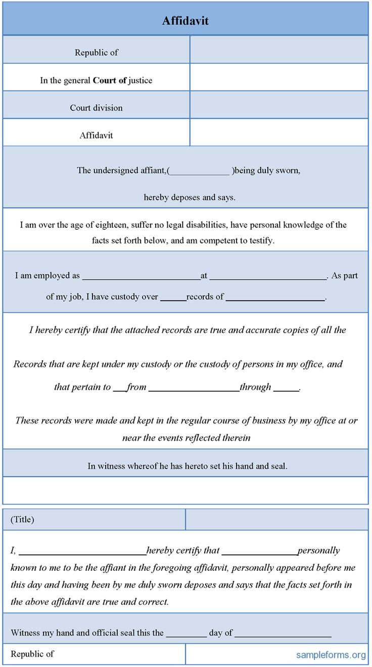 Affidavit Form #affidavit #form