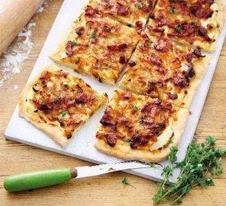 Caramelised onion & bacon tart