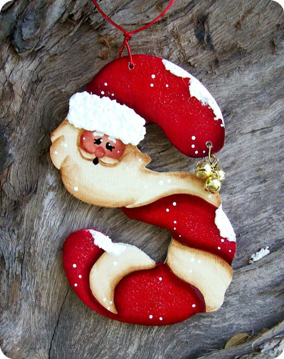 S is for Santa Ornament by CountryCharmers on Etsy, $7.25-I decorate my tree/house in Santa...this is cute