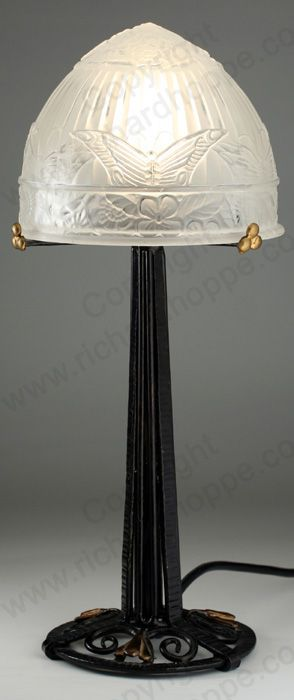 VINTAGE c.1930s FRENCH ART DECO TABLE LAMP WITH WROUGHT IRON STAND. To visit my website click here: http://www.richardhoppe.co.uk or for help or information email us here: info@richardhoppe.co.uk