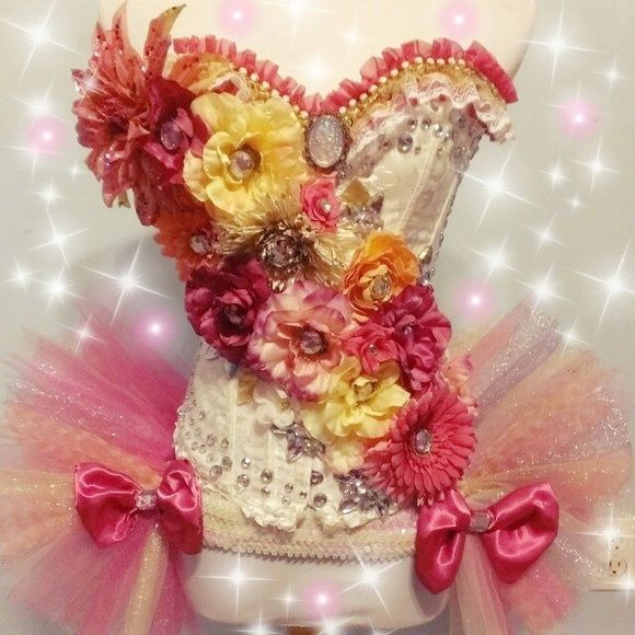 Rave corset outfit  ❗️ON HOLD❗️ Flower rave corset for the true flower child✨ Corset and bustle only been worn once. Other