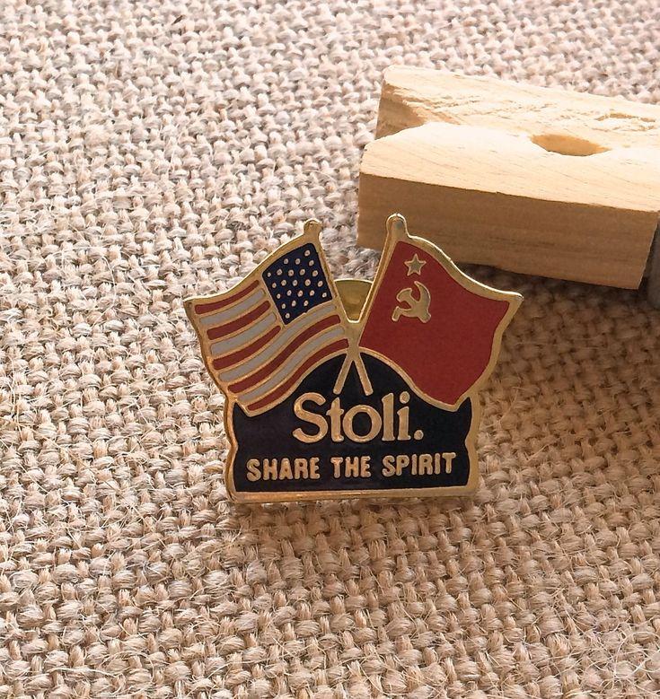 Vintage+Enamel+Stoli+Cross+Flag+Lapel+Pin+American+and+Soviet+Flags
