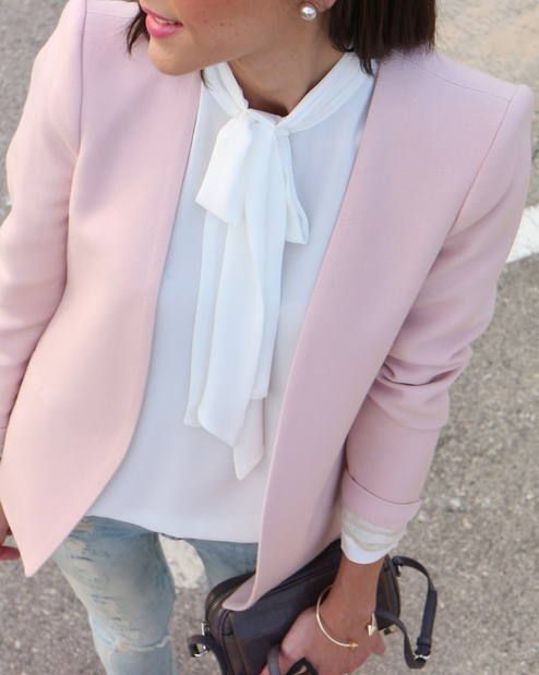 light jeans, white blouse, pink blazer