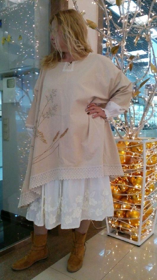 Большие размеры ручной работы. Заказать Платье-туника. Лен.. 'Где живут ангелы...'. Ярмарка Мастеров. Льняная одежда