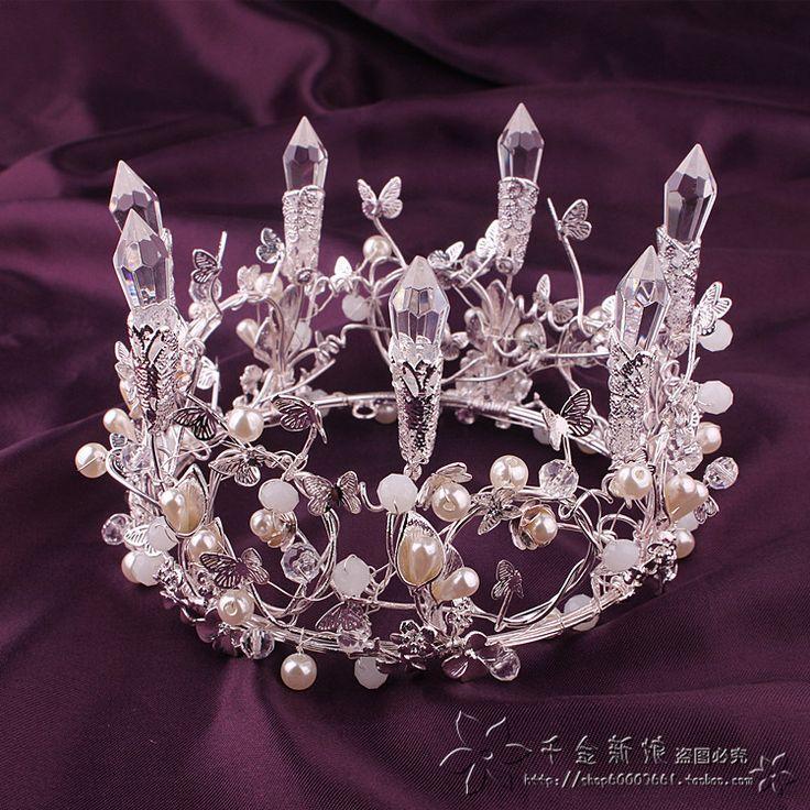 Специальный белый барокко дочь колонка кристалл невесты свадебное платье Корона Бабочка аксессуары для волос ювелирные изделия корона - Taobao
