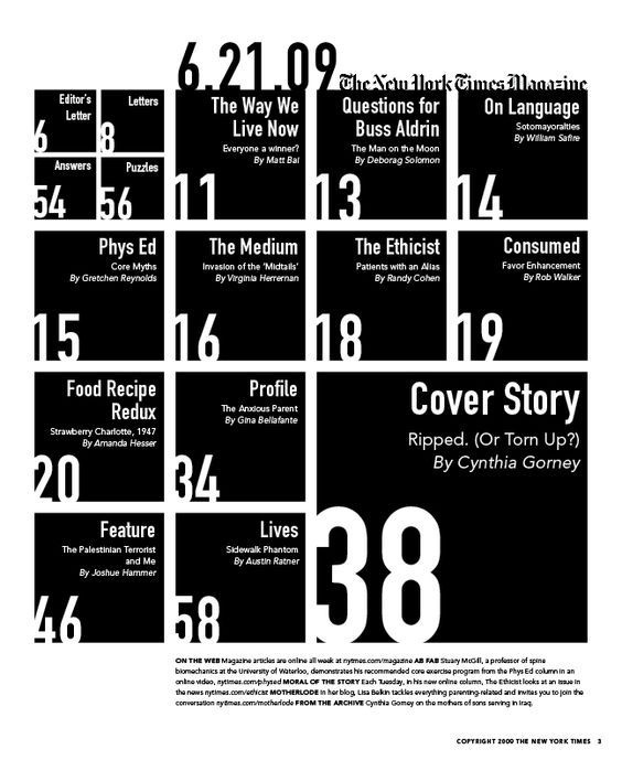 I really enjoy the use of the negative space in this table of contents. Also how the boxes sized for hierarchy such as the biggest box being the most important part of the article.