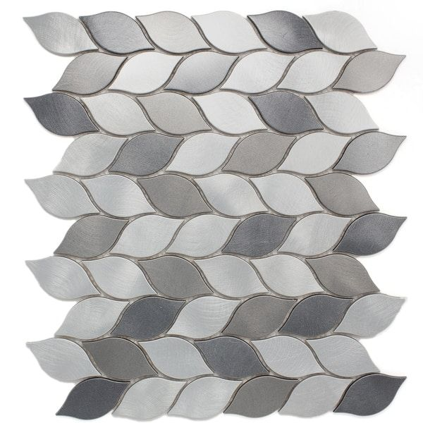 Tilegen Leaf Shape 1 25 X 2 75 Aluminum Metal Mosaic Tile In Silver Gray Wall Tile 10 Sheets 11sqft Mosaic Tiles Mosaic Tile Sheets Grey Wall Tiles