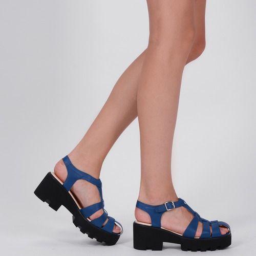 Sandale albastre din piele naturala Desiree