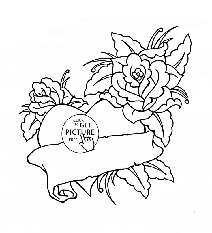 Heart And Roses For Valentines Day Coloring Page Kids Flower Pages Printables Free