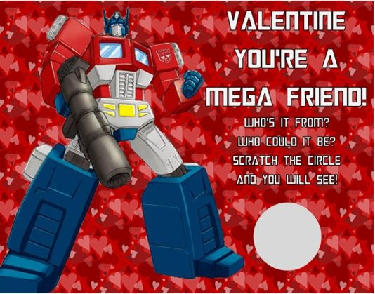 Transformers Valentineu0027s Day Valentine Scratch Off Cards Personalized
