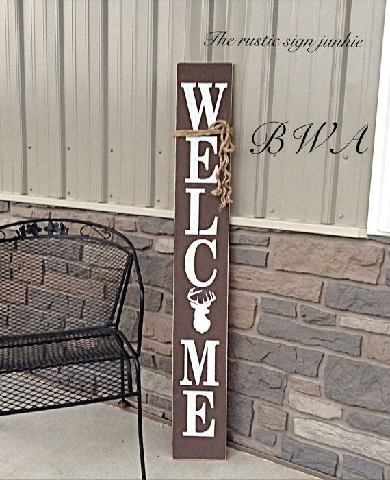 Porch Welcome Sign Hunting Deer Decor Rustic