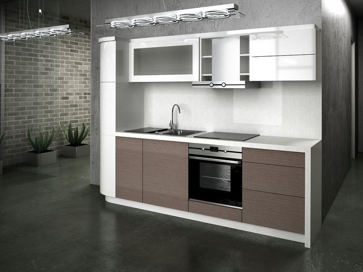 Cool Modern Small Kitchen Design Using Cabinet Laminate Brown And White Equipped With Kitchen Sink And ...