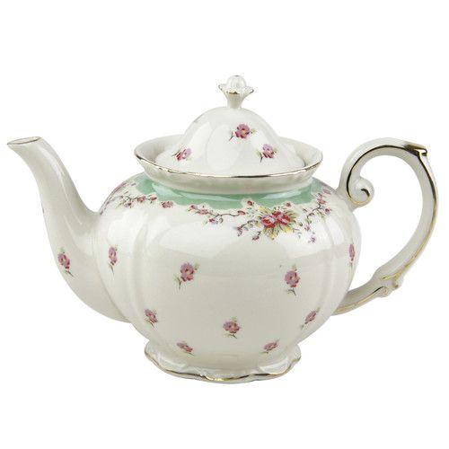 Found it at Wayfair - 1.25-qt. Vintage Green Rose PorcelainTeapot