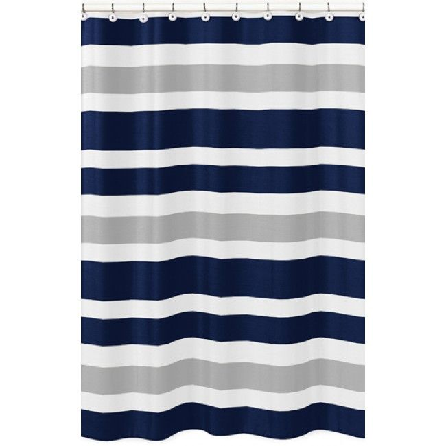Elegant Stripe Navy And Gray Shower Curtain By Sweet Jojo Designs By Sweet Jojo  Designs At Bedding