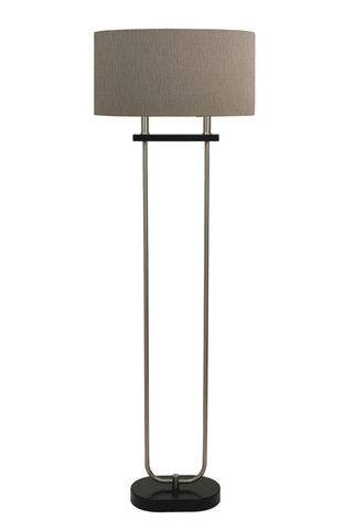 Brushed Nickel Floor Lamp with Timber Base - Complete Pad ®