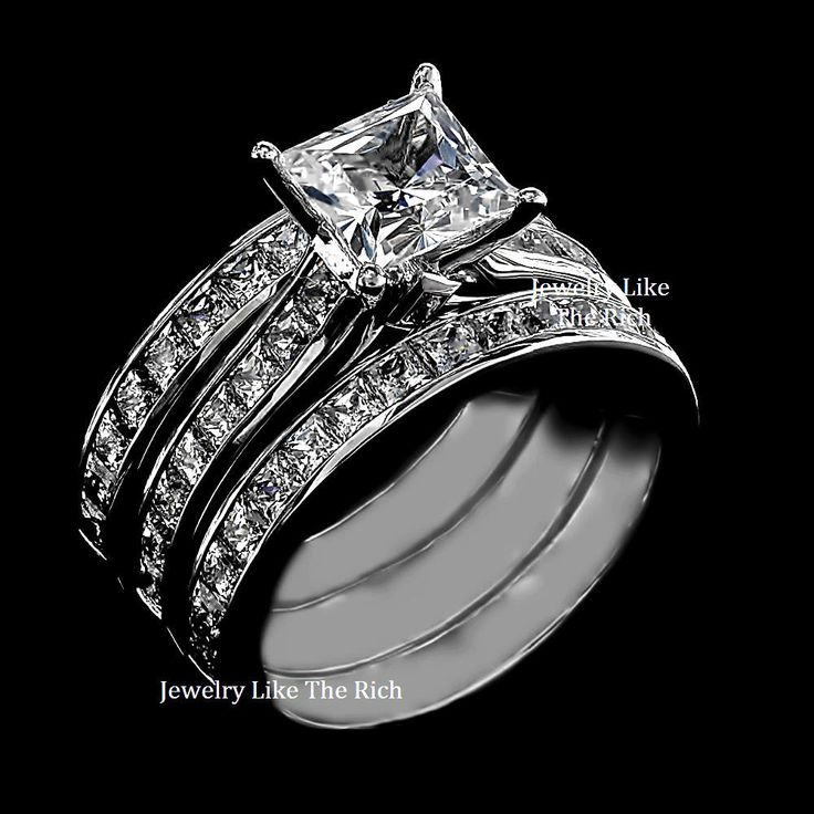 Princess Cut Sim Diamond Engagement Ring 3pc Wedding Set Sterling Silver Size 9