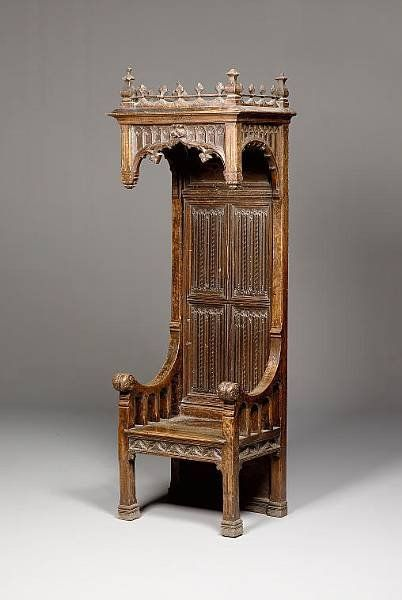.The Second Example of a French Gothic Oak Throne Armchair, ca. 1550-1600.