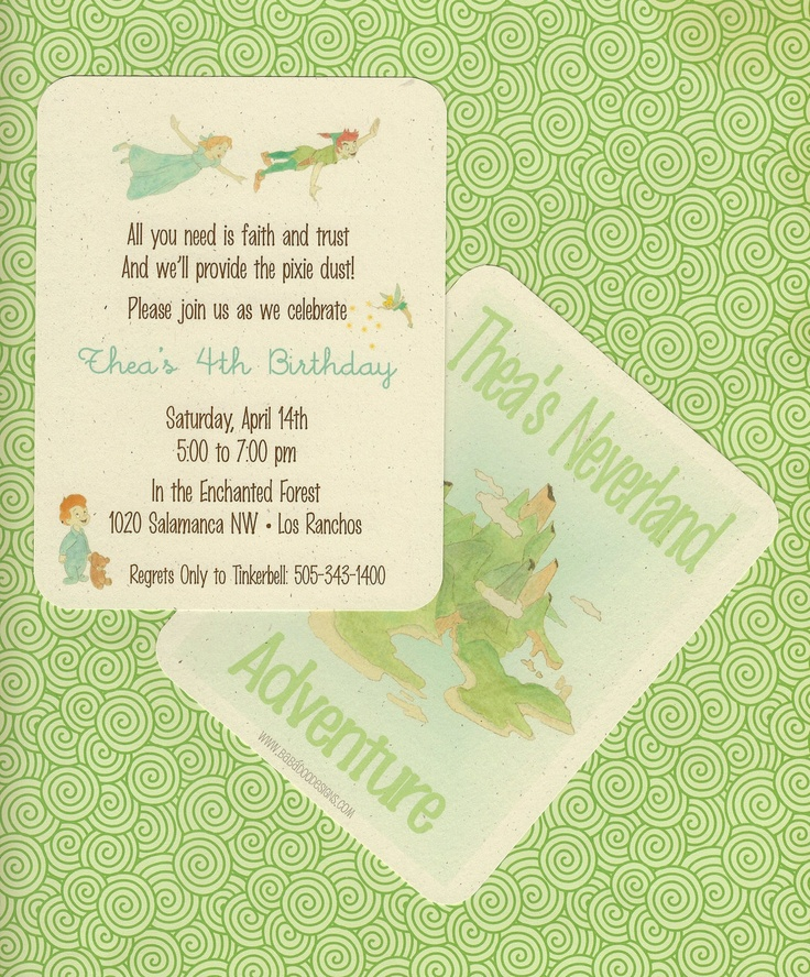 PETER PAN & NEVERLAND Invitation Multiple by BabadooStationery, $18.00 for PDF file of 2-sided invitation. Just ordered these and they look great with great customer service!