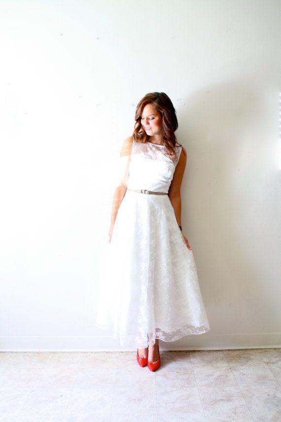 Vintage Wedding dress lace tea length sheer top door ThisVintageGirl, $375.00