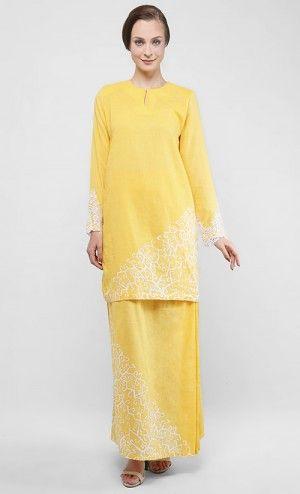 Cempaka Klasik Pua Baju Kurung with White Lace in Yellow Buttercup