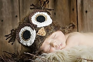 Owl knit hat baby photography