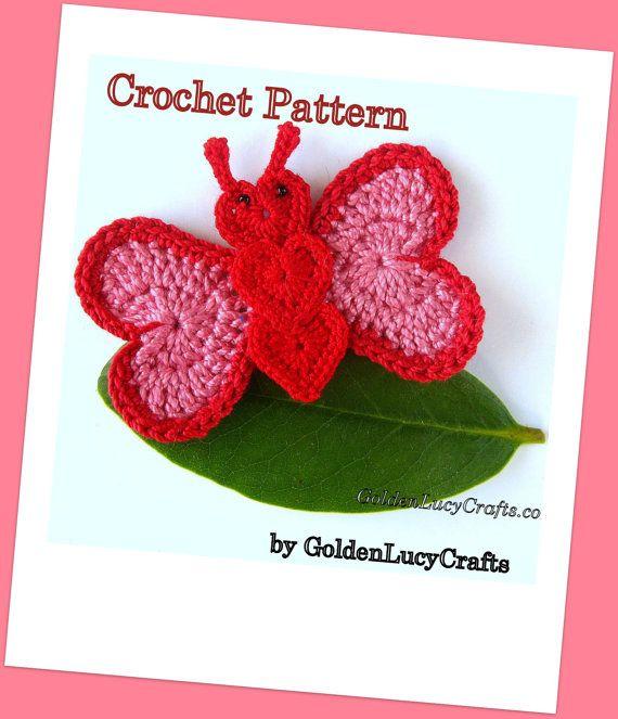 CROCHET PATTERN Butterfly Applique PDF File by GoldenLucyCrafts
