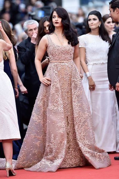 Aishwarya Rai: wore a fully embellished beige gown (ElieSaab Fall 2014 Couture)   'The BFG (Le Bon Gros Geant - Le BGG)' premiere 69th annual Cannes Film Festival May 14, 2016
