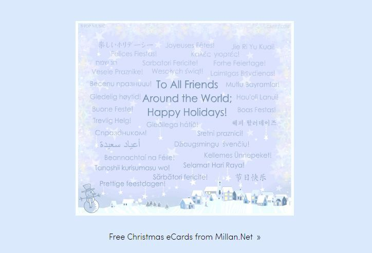 A Christmas ecard in different languages.