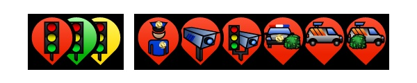 Trapster 3.1.0 for Android Trap icons. Red Light Camera, Live Police, Speed Camera, Combo Camera (RLC + Speed), Known Enforcement Point, Mobile Speed Camera, Mobile Speed Camera Often Seen Here