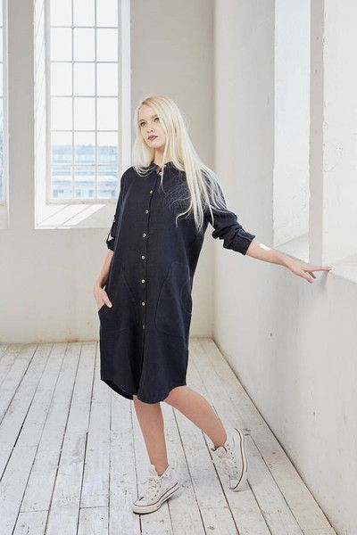 Shirt Dresses – Linen shirt dress, Black linen tunic dress – a unique product by Linensy on DaWanda