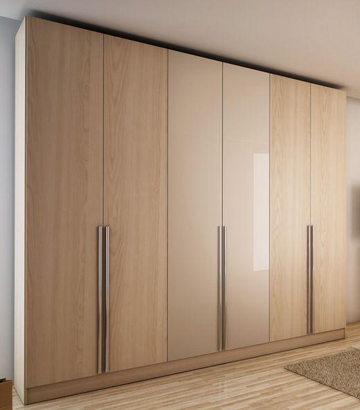 Manhattan Comfort 34163 4 Drawer Eldridge 6 Door Wardrobe in Oak Vanilla and Nude/ Pro-Touch/Metallic Nude