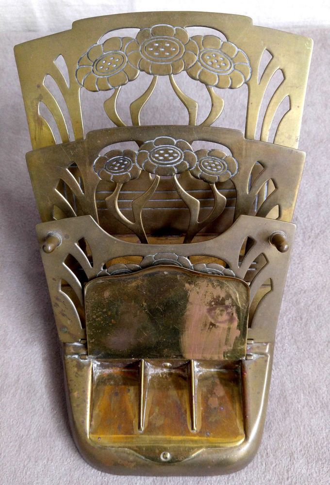 Antique GES. GESCH German Brass Letter Rack Stamp Desk Organizer Art Nouveau