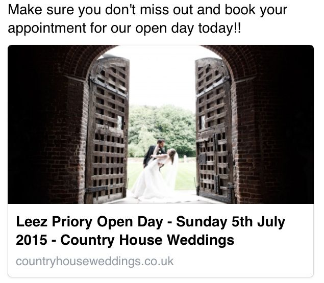 Leez Priory Wedding Venue Make sure you don't miss out and book your appointment for our open day today!!
