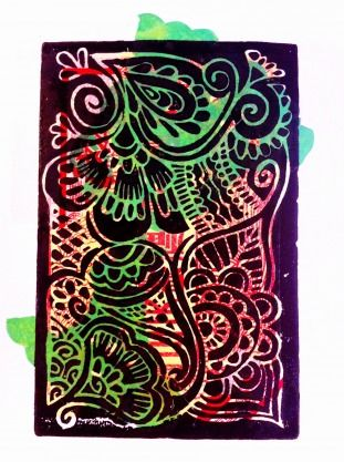 HENNA DESIGN BY: LAURA BARRAND 32CM X 42CM X 0CM $100  Henna design green is a lino cut print, printed on paper. This art piece is framed in a white frame.
