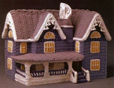Crochet house from the book Crochet Cottages (Annie's Attic). Made for tissue box covers