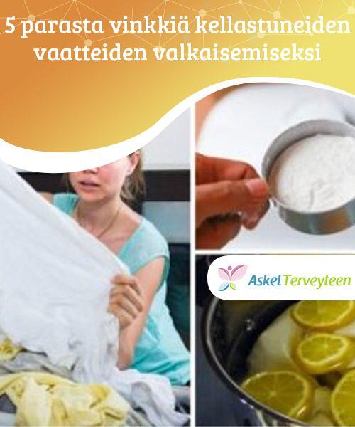 5 parasta vinkkiä kellastuneiden vaatteiden valkaisemiseksi  Ovatko valkoiset vaatteesi keltaisten tahrojen pilaamia? Kokeile tässä tapauksessa eräitä luonnollisia tuotteita, jotka ovat helppoja, turvallisia ja tietysti myös ympäristölle haitattomia vaihtoehtoja.