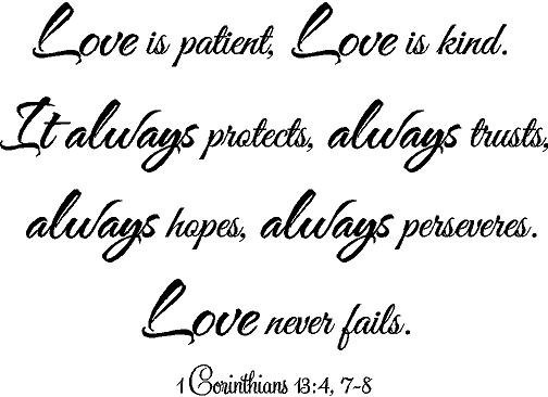 1 corinthians 13 4 7 8 love is patient love is kind love never fails wall saying bible vinyl. Black Bedroom Furniture Sets. Home Design Ideas