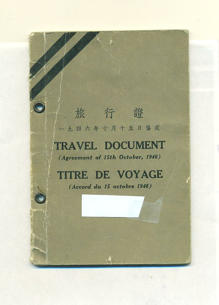 Travel document issued by the International Refugee Organization in Shanghai, 1949 Document issued to a Jewish refugee who had escaped to China before World War II. The IRO was an agency set up by the United Nations in 1946 to deal with the refugee problem created by the war. Issued on 9 December 1949