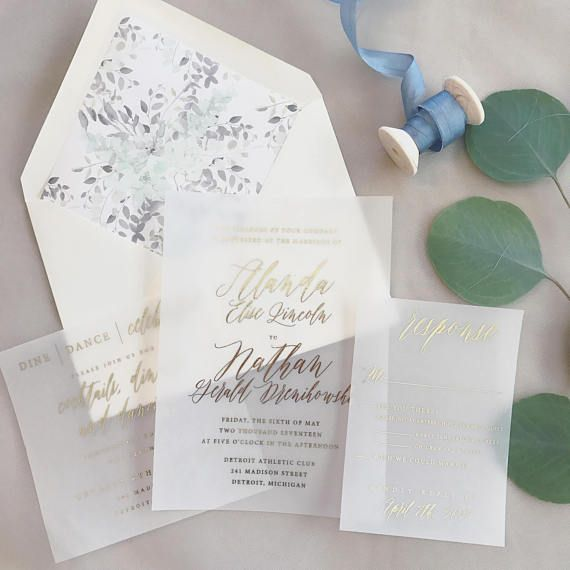 Translucent Vellum Wedding Invitations With Gold Foil Wedding