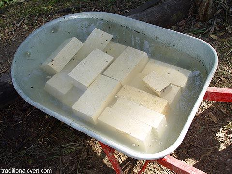 Soaking firebricks in water before they are cut with diamond wheel.