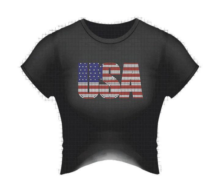 USA rhinestone ladies crew neck bling t shirt. USA Bling bling tee shirt…