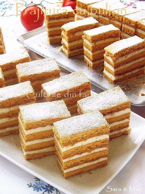 Prajitura cu bulion o prajitura din categoria dulciurilor de casa din copilarie. Este o prajitura cu foi coapte pe dosul tavii, asemanatoare cu prajitura dinfoi facute cu miere, doar ca in …