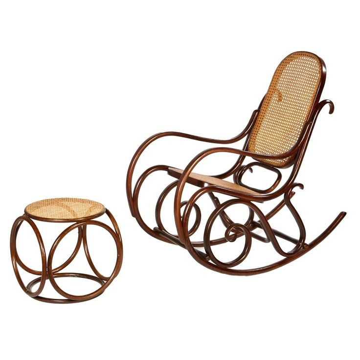 Mid-20th Century Thonet-Style Rocking Chair And Ottoman