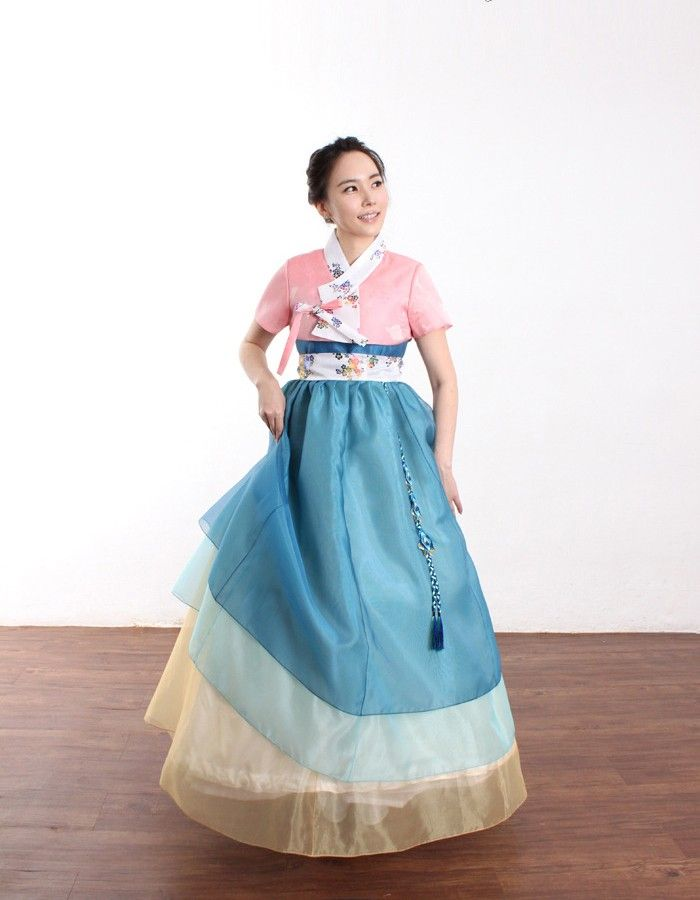 [CO1213-18]Layered hanbok dress with short sleeves