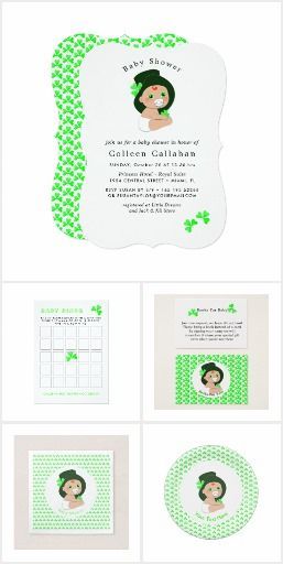 Lucky Irish Leprechaun | Shamrock Baby Shower Set. Irish Baby Leprechaun Lucky Shamrock Baby Shower Set Irish themed baby shower invitations and coordinating items for all those Irish pregnant ladies. In traditional green colors of Ireland with the cutest little baby in a leprechauns tall top hat decorated with a lucky shamrock leaf. ideal for a baby boy shower party at any time of year. #ad