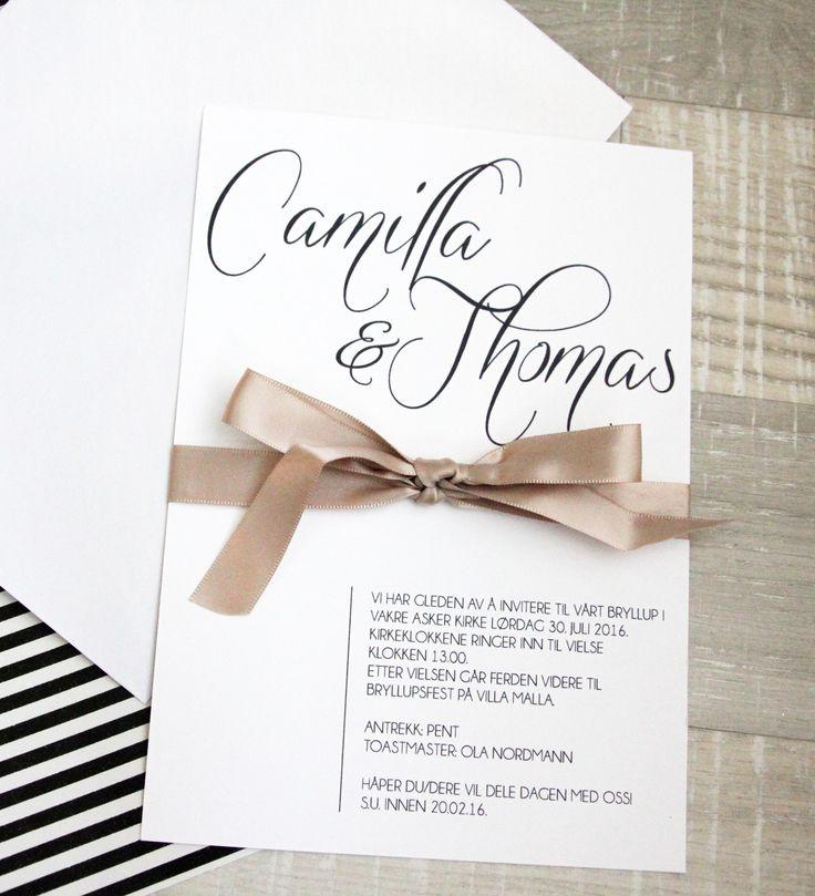 Moderne, minimalistisk og stilren invitasjon med gammelrosa sløyfe.